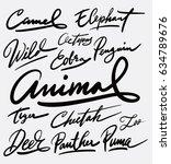 animal hand written typography. ... | Shutterstock .eps vector #634789676