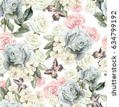 Stock photo pattern with watercolor realistic roses butterflies and plants illustration 634799192