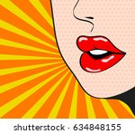 close up woman's talking  red... | Shutterstock .eps vector #634848155