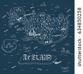 iceland hand drawn cartoon map. ...   Shutterstock .eps vector #634850258