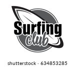 summer surfing retro badge.... | Shutterstock .eps vector #634853285