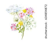 watercolor flower bouquet ... | Shutterstock . vector #634854872