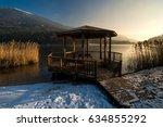 Lake Side Gazebo At Sunrise In...