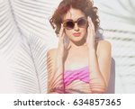 summer style portrait of young... | Shutterstock . vector #634857365