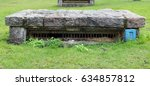 Small photo of Air shafts of an old air-raid shelter in the public city park. For appearance covers are made of granite stones.