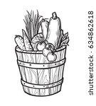 fresh vegetables in box.... | Shutterstock .eps vector #634862618