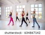 group of people dancing in the... | Shutterstock . vector #634867142
