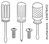 vector set of screw and... | Shutterstock .eps vector #634878452