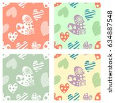 set of seamless vector patterns ... | Shutterstock .eps vector #634887548