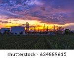 sunrise scence of oil refinery... | Shutterstock . vector #634889615