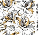 seamless pattern with gold lily ... | Shutterstock .eps vector #634898618