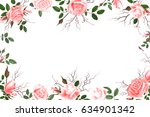 greeting card with roses ... | Shutterstock . vector #634901342