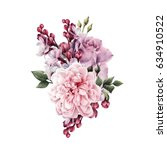 bouquet of roses  watercolor ... | Shutterstock . vector #634910522