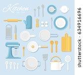 vector illustration. kitchen... | Shutterstock .eps vector #634916696