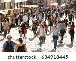 lviv  ukraine   may 2017  crowd ... | Shutterstock . vector #634918445