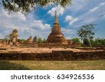 mahathat temple in ayutthaya... | Shutterstock . vector #634926536