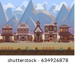 seamless cartoon wild west town ... | Shutterstock .eps vector #634926878