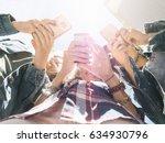 friends watching social media... | Shutterstock . vector #634930796