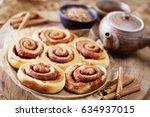 homemade delicious cinnamon...   Shutterstock . vector #634937015