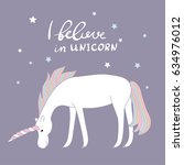 magic unicorn with hand drawn... | Shutterstock .eps vector #634976012