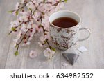 apricot tea. tea with aroma and ... | Shutterstock . vector #634982552