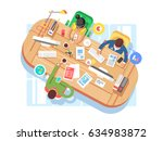 conference office workspace ... | Shutterstock .eps vector #634983872