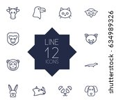 set of 12 beast outline icons... | Shutterstock .eps vector #634989326