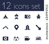 set of 12 picnic icons set...