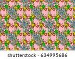 illustration colored pattern on ... | Shutterstock . vector #634995686