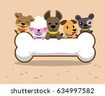 cartoon dogs and big bone | Shutterstock .eps vector #634997582