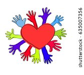 heart and many hands vector