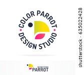 parrot logotype set gradient... | Shutterstock .eps vector #635022428