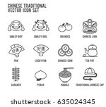 chinese new year vector icons... | Shutterstock .eps vector #635024345