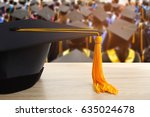 graduation cap with yellow... | Shutterstock . vector #635024678