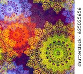colorful texture from mandalas... | Shutterstock .eps vector #635025656