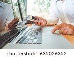 man manager wearing white shirt ...   Shutterstock . vector #635026352
