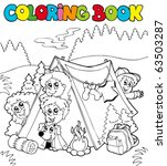 coloring book with camping kids ... | Shutterstock .eps vector #63503287