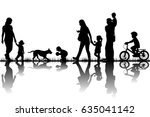 family silhouettes in nature | Shutterstock . vector #635041142