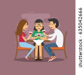 group of friends meeting in cafe | Shutterstock .eps vector #635042666