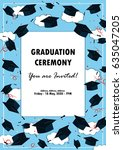 graduation poster. throwing... | Shutterstock .eps vector #635047205