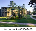 a typical apartment complex... | Shutterstock . vector #635047628