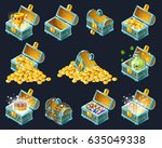 set of  cartoon isometric... | Shutterstock .eps vector #635049338