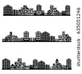 vector black city icons set | Shutterstock .eps vector #635051246