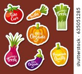 healthy organic vegetarian... | Shutterstock .eps vector #635051285