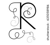 calligraphic letter r with... | Shutterstock .eps vector #635058986