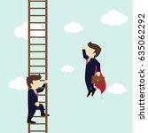 businessman superhero fly pass... | Shutterstock .eps vector #635062292