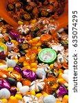 halloween candy background | Shutterstock . vector #635074295