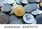 golden coin and old coin... | Shutterstock . vector #635074772