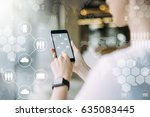 close up of smartphone in... | Shutterstock . vector #635083445
