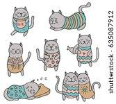set of cute cartoon vector grey ... | Shutterstock .eps vector #635087912